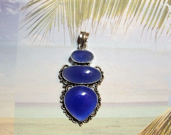 Blue Chalcedony .925 Sterling Silver Pendant