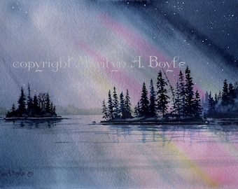 NORTHERN LIGHTS - ORIGINAL Watercolor;  scene, lake, islands starry, reflections, Canadian art, wall art