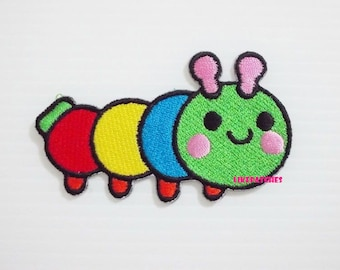Happy Worm Rainbow Patches - Cute Patches New Sew / Iron On Patch Embroidered Applique Size 7.7cm.x4.5cm
