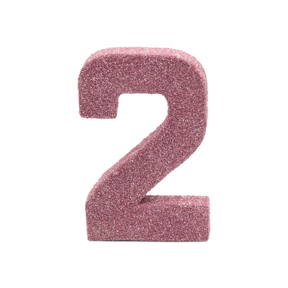 """8"""" Glitter Number 2, Paper Mache Number 2, Giant Blush Pink Number, Centerpiece Number Two, Table Letters, Large Decorative Pink Birthday"""