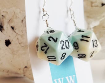 READY TO SHIP D20 Twenty Sided Dice Earrings - Blue and White with Black Numbers - Geeky Gamer Jewelry