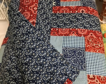 Handmade Quilt, Red White and Blue