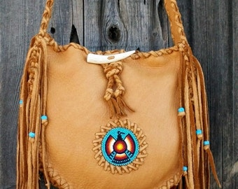 Leather tote , Southwestern totes , Fringed leather tote , Sedona bags by thunderrose , Boho style tote