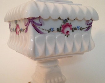 Milk glass square wedding jar with lid by the Westmoreland company