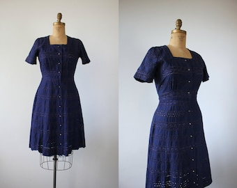 vintage 1940s dress / 40s navy blue eyelet dress / 40s shirt dress / 40s button front dress / rhinestone buttons / 40s day dress / large