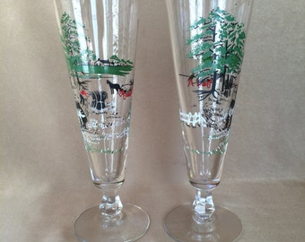 Libbey Beer Pilsners, Colonial Times, Currier and Ives, Vintage Libbey, Print Pilsners, Holiday Beer Glasses, Red Green Black, Holiday Bar