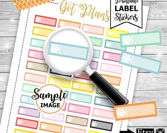 Paw Label Stickers, Printable Planner Stickers, Stickers For Planners, Functional Planner Stickers, Animal Labels