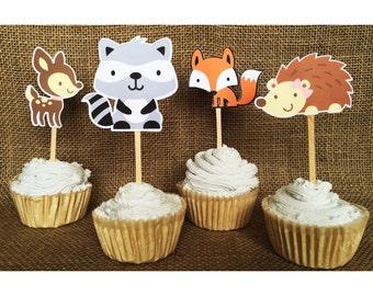 woodland cupcake - forest animal cake - woodland baby shower - woodland birthday - woodland animal cake - woodland animals - woodland topper