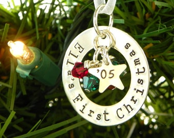 First Christmas hand stamped and personalized sterling silver ornament