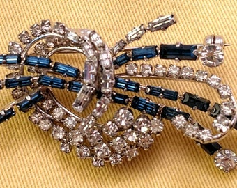 Vintage Sparklerama! Signed Made In Austria Navy Baguettes & Icy Crystal RS Brooch YOWZA