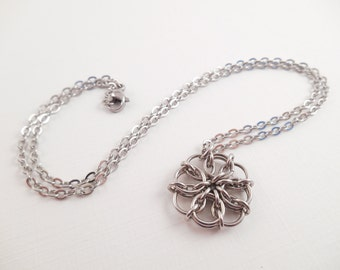 Stainless Flower Necklace - Stainless Steel Celtic Visions Flower Necklace