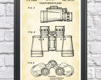 Binoculars Poster, Binoculars Patent, Binoculars Print, Hunter Gift, Binoculars Decor, Bird Watching Gift, Spyglasses, Binocular Art P321