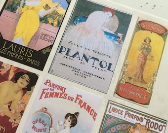 Vintage Perfume Labels Stickers in High Fashion