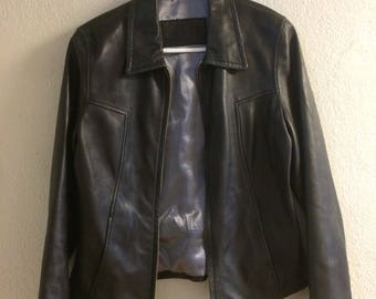 Vintage Guess Leather Black 90s Jacket Fits Women's Small