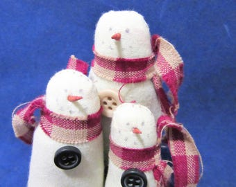 Snowman Christmas Crafting Supplies Embellishments Craft Projects Set of 3  blm