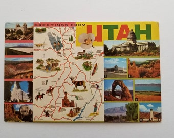 Utah Postcard / Vintage Greetings from Utah Postcard Pictorial Map unUsed unPosted