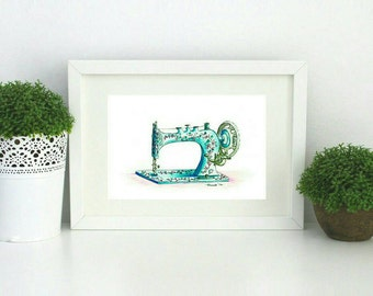 Sewing Machine watercolour painting art print in Teal wall art for sewing craft room old singer sewing machine artwork watercolour wall art