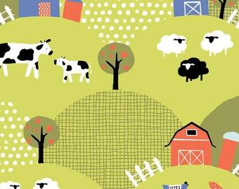 Free Range Monaluna Organic Fabric- Adorable Print! Sheep, Cows Farm