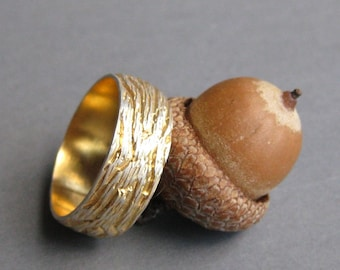 golden OAK gold plated sterling silver woodgrain ring Made to Order