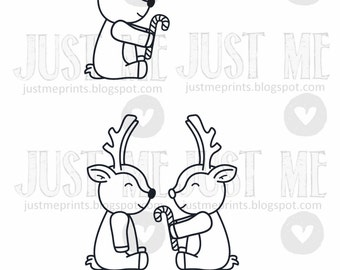 Christmas reindeers digital stamp