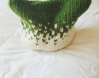 child's hat // kitty ear hat // green and white