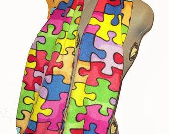 Rainbow Jig Saw Puzzle Fleece Scarf, Puzzle Piece Muffler, Multicolor Fringed Neck Scarf, Special Interest Bufanda