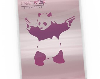 CraftStar Banksy Panda With Guns Stencil - Urban Graffiti Art Template - A4 Size