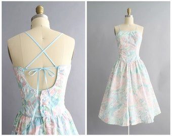pastel floral sundress | vintage 1980s mint green watercolor print sweetheart dress | vtg 80s blue floral sun dress | small