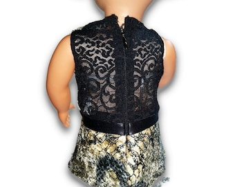 """Faux Snake  w/lace back Top & Leggings Outfit 18"""" Doll Clothes [41919B]"""