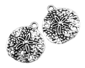 Silver Charms : 10 Antique Silver Sand Dollar Charms | Silver Ox Sand Dollar Beach Pendants -- Lead, Nickel & Cadmium Free 40536.J4K