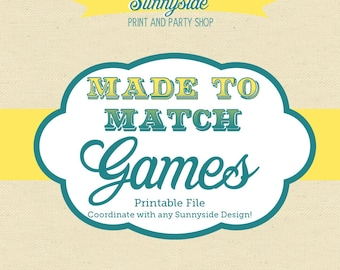 PRINTABLE SHOWER GAMES Bridal Shower or Baby Shower - Made to Match with any Sunnyside Design