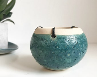 Turquoise Hanging Planter // Ceramic Hanging Plant Pot // Succulent Planter // Cactus Planter // Blue Green