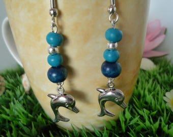 Boucles d'oreilles avec dauphin perles en bois perles argentées pour oreilles percées