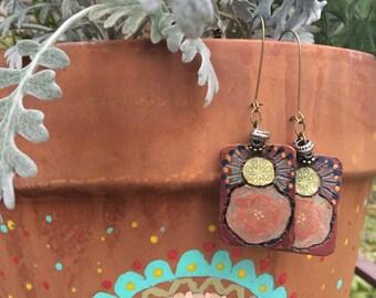 Charm EARRINGS,folk earrings, wooden earrings, abstract earrings, free people style earrings, hippy earrings,reversible earrings,  Zasra