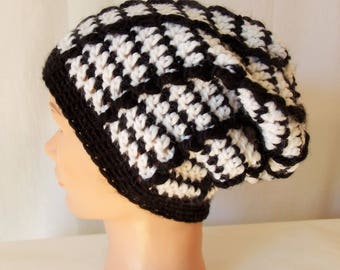 Cap wool, contrasting black and white.