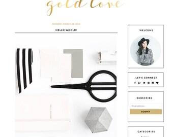 """Blogger Template Mobile Responsive - Instant Digital Download - Premade Complete Blog Design -""""Gold Love"""""""