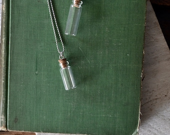 Message In A Bottle Necklace - Vial Necklace - Mini Bottle - Silver Bottle Necklace - Customize This Necklace
