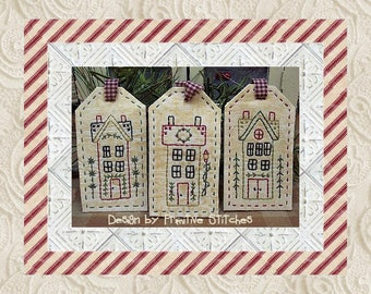 Winter Saltbox Tag Collection-Primitive Stitchery-E-PATTERN by Primitive Stitches-Instant Download