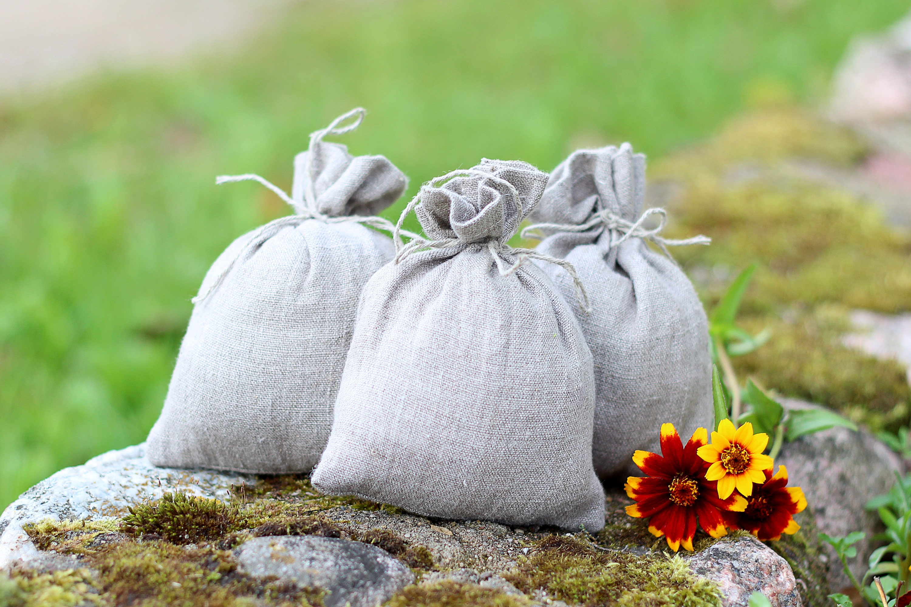 Natural softened gray linen favor bag first communion bags