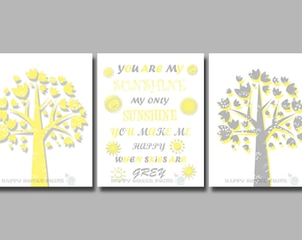 nursery printable, you are my sunshine my only sunshine, yellow and gray  crib bedding, downloadable prints,instant download, tree art