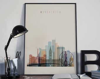Manchester Watercolor Manchester Wall Art United Kingdom Multicolor Manchester City Home Decor Manchester Skyline Manchester Print Unframed