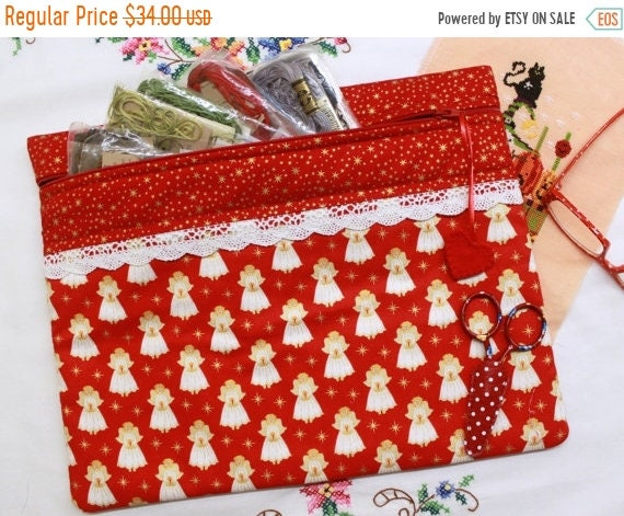 Red Metalic Gold Tiny Angels Cross Stitch, Embroidery Project Bag