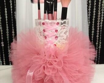 Ivory/Pink Girly Corset with Tutu Dress Cylinder Vase - Makeup Brush Holder/Wedding Centerpiece