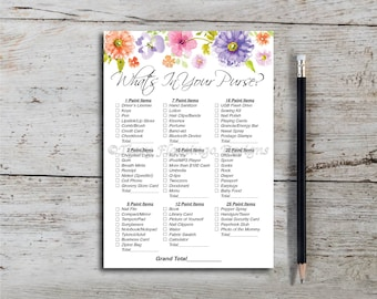 What's In Your Purse, Baby Shower Game, Shower Game, Flowers, Floral, Shabby Chic Baby Shower, PDF Printable, Instant Download T706L