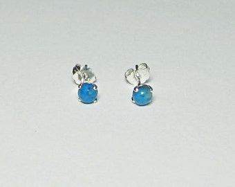 Tiny Turquoise Studs - Turquoise Earrings - 4mm Cabochons - Sterling Silver Studs - 14Kt Gold Filled Studs