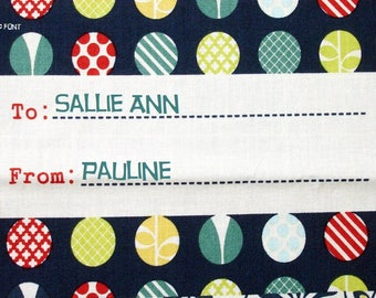 Quilt Label - To/From Marbles, Hand Embroidered & Custom Made