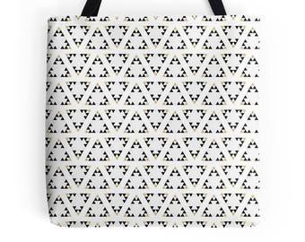 Geometric tote bag, market shopper, white tote bag, geometric print, shopping bag, tote shopper, market bag, black geometric Bag, Tote Bag