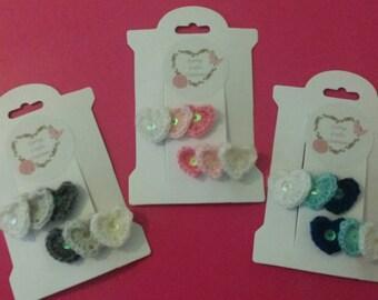 Crochet hearts hairslides