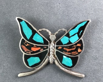Vintage Sterling Silver Turquoise Coral inlay Butterfly Pendant
