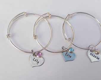 Hand Stamped childrens personalised adjustable charm bangle bracelet with name and birthstone charm flower girl present